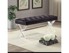 K Elite NIMA Velvet Fabric Tufted Seating Bench in Black 3665-04
