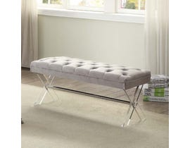 K Elite 3665 NIMA Velvet Fabric Tufted Seating Bench in Grey 3665-02