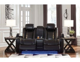 Signature Design by Ashley Power Reclining Loveseat with Console in Midnight 3700318