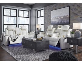 Signature Design by Ashley Party Time Power Reclining sofa set in white 3700413-18-15