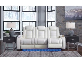 Signature Design by Ashley Party Time Power Reclining Sofa in white 3700415