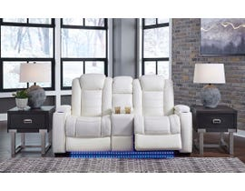 Signature Design by Ashley Party Time Power Reclining Loveseat with Console in White 3700418