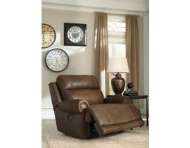 Signature Design by Ashley leather look Zero Wall Power Wide Recliner in brown 3840082