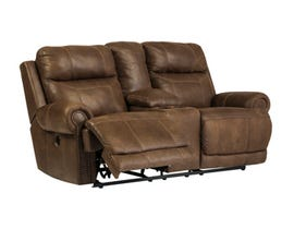Signature Design by Ashley double recliner power loveseat in brown with console 3840096