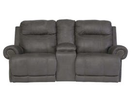 Signature Design by Ashley double power reclining loveseat in grey with console 3840196