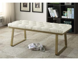 K Elite IONA 3934 Bonded Leather Tufted Seating Bench in Off-White 3934