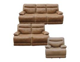 PR Furniture Lanette 3 Piece Leather Gel Power Reclining Sofa Set in Caramel 3754