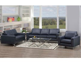 SBF Upholstery Leather 3pc Sofa Set in Zurick Navy 4414