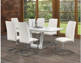 Grayson Series 7- Piece Dining Set in White/Silver 400-80-7