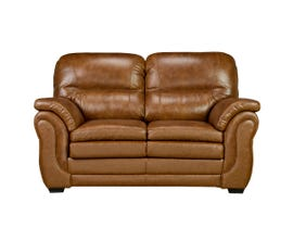 Sofa By Fancy Andrew Collection Leather-Air Love Seat in Neptune Brown Umber 4000-1