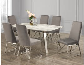 Brassex 7 Piece Dining Set in White/Grey 4045