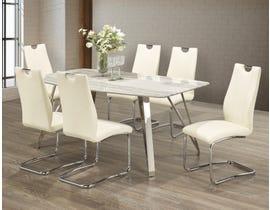 Brassex 7 Piece Dining Set in White 4051
