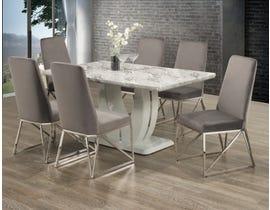 Brassex 7 Piece Dining Set in White/Grey 4067