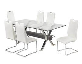 Brassex 7 Piece Dining Set in White 4087