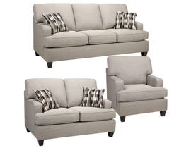 Sofa by Fancy Krysta 3-Piece Fabric Living Room Set in Dove Grey 4150