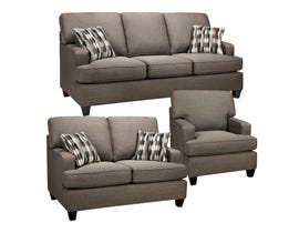 SBF Upholstery Krysta 3-Piece Fabric Living Room Set in Coffee Brown 4150