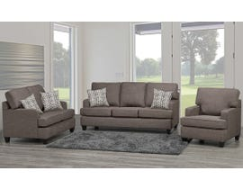 SBF Upholstery Krysta 3-Piece Fabric Living Room Set in Coffee Brown 4150