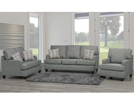 SBF Upholstery Krysta 3-Piece Fabric Living Room Set in Dove Grey 4150