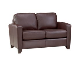 SBF Upholstery Astoria Collection Zurick Leather Loveseat in Chocolate 4375-2