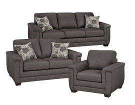 SBF Upholstery Zurick Collection 3Pc Leather Sofa Set in Trapeze 4395