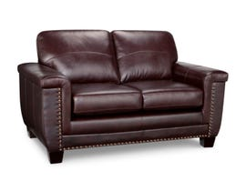 SBF Upholstery Sydney Collection Zurick Leather Loveseat in Cranberry 4359-2