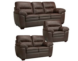 Sofa by Fancy Ethan 3-Piece Leather-Air Living room set in Neptune Chocolate