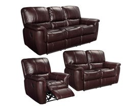 SBF Upholstery Rockwood 3pc Leather Sofa Set in Garda Barun Brown 4708