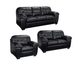 Sofa by Fancy Havana 3-Piece Leather-Air Living room Set in Dakota Black 4800