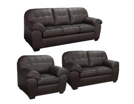 Sofa by Fancy Havana 3-Piece Leather-Air Living room Set in Brown 4800