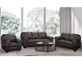 SBF Upholstery Havana 3pc Leather-Air Sofa Set in Brown 4800