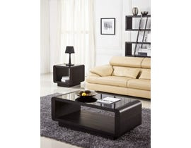 Chateau Imports Wood End Table with Tempered Glass Top in Dark Brown 48-01