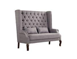 Brassex tufted accent love seat in grey 4942-GR