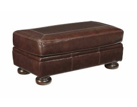 Signature Design by Ashley Banner Series Leather Ottoman in Coffee 5040414