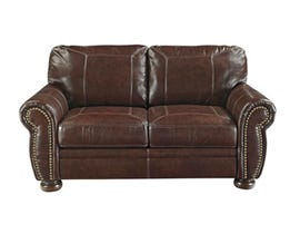 Signature Design by Ashley leather look loveseat in coffee brown 5040435