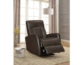 Amalfi Letty Series Leather Look Power Recliner w/USB in Dark Brown 5074