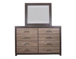 Modern Furniture Engineered Wood Dresser and Mirror in Canella & Tuxedo 5100