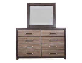 Modern Furniture Engineered Wood Dresser and Mirror in Canella & Tuxedo 5100