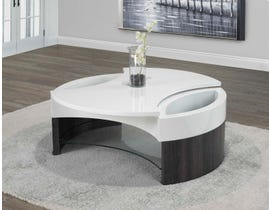 Brassex coffee table with rotating top and two side storage in white and grey 520-02
