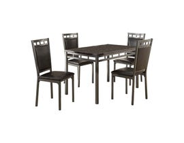 MAZ 5pcs Faux Marble Dinette with Chairs in Dark Brown- 5275