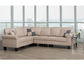 Brassex Victoria Sectional with Adj. Armless Chair in Beige 535-CNAC-BEI