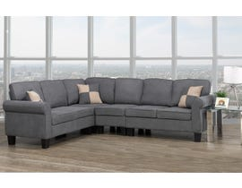 Brassex Victoria Sectional with Adj. Armless Chair in Grey 535-CNAC-GR