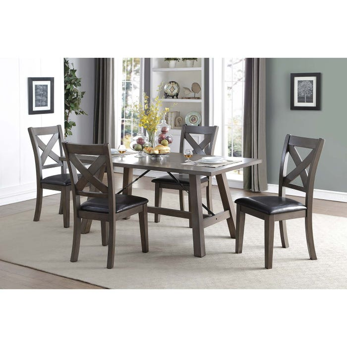 Mazin 5-Piece Wooden Dinette Set with Leatherette Seats in Black 5510