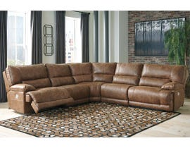 Signature Design by Ashley 5-Piece Reclining Sectional with Power in Saddle 55801S4
