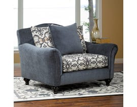 Sofa By Fancy Linden Collection designer two tone print fabric accent chair in half  White & Grey Finish 5595