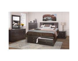 Modern Furniture Storage Bedroom Set in Dark Brown 5600