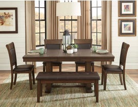 Mazin Wooden 6-Piece Dining Room Set with Bench in Rustic Ash 5614