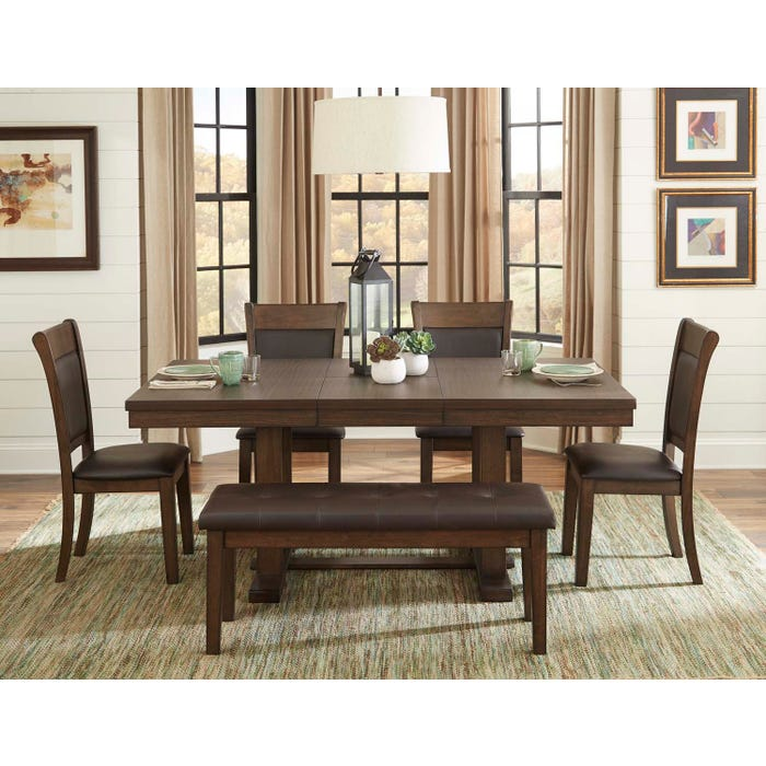 Terrific Mazin Wooden 6 Piece Dining Room Set With Bench In Rustic Ash 5614 Download Free Architecture Designs Rallybritishbridgeorg