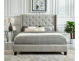 M.A.Z. Furniture Fabric King Bed in Grey 5830