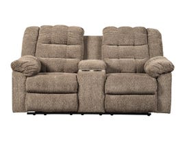 Signature Design by Ashley Workhorse Collection Fabric Double Reclining Loveseat in Cocoa 5840194