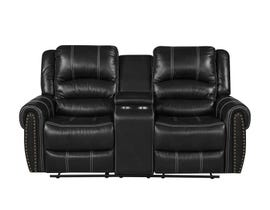 Fresh Leather Air Reclining Loveseat w/Console in Black 6019